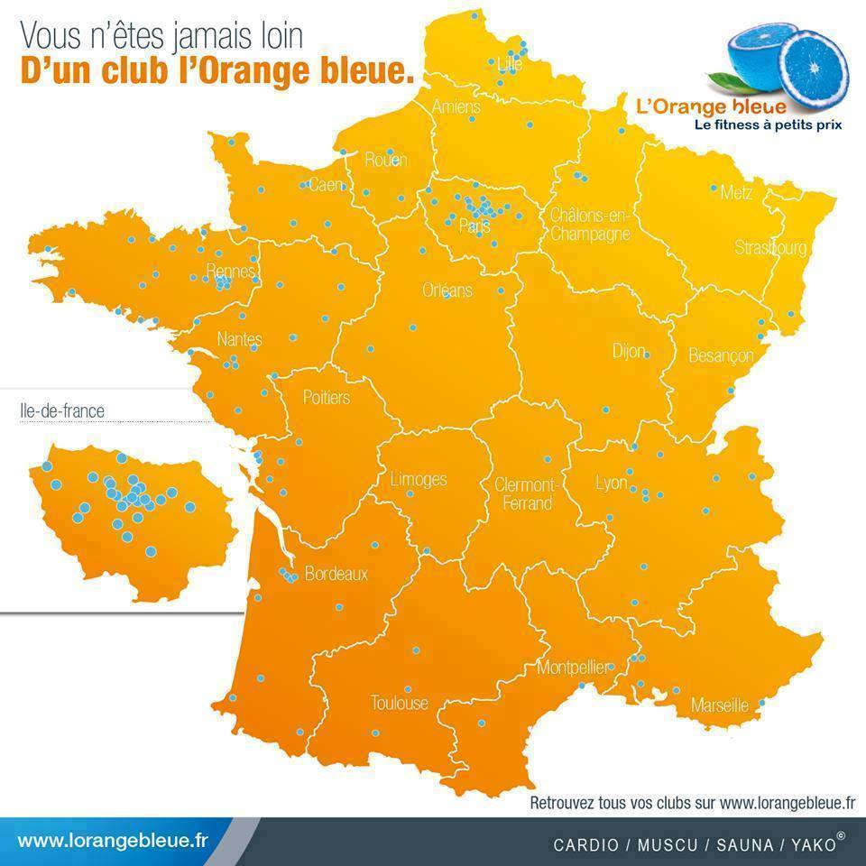 Les Clubs L'Orange Bleue en France.