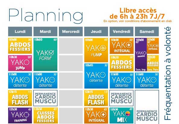 Votre nouveau planning